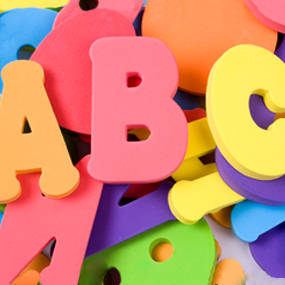 Multicolored random letters from the English alphabet