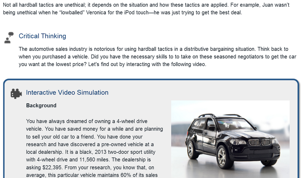 Screenshot of interactive video description within the course content.