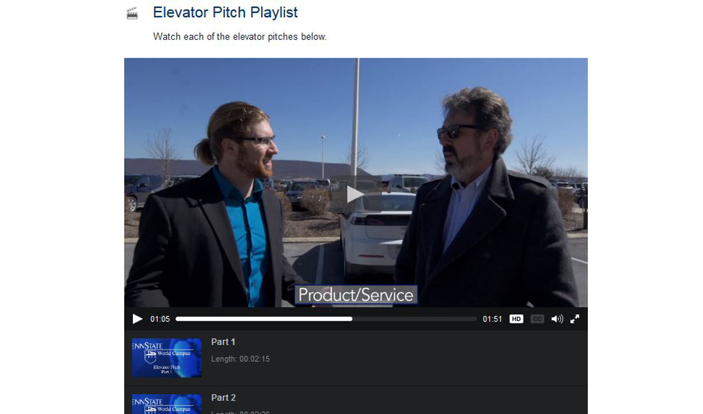Preview of a video depicting an elevator pitch.