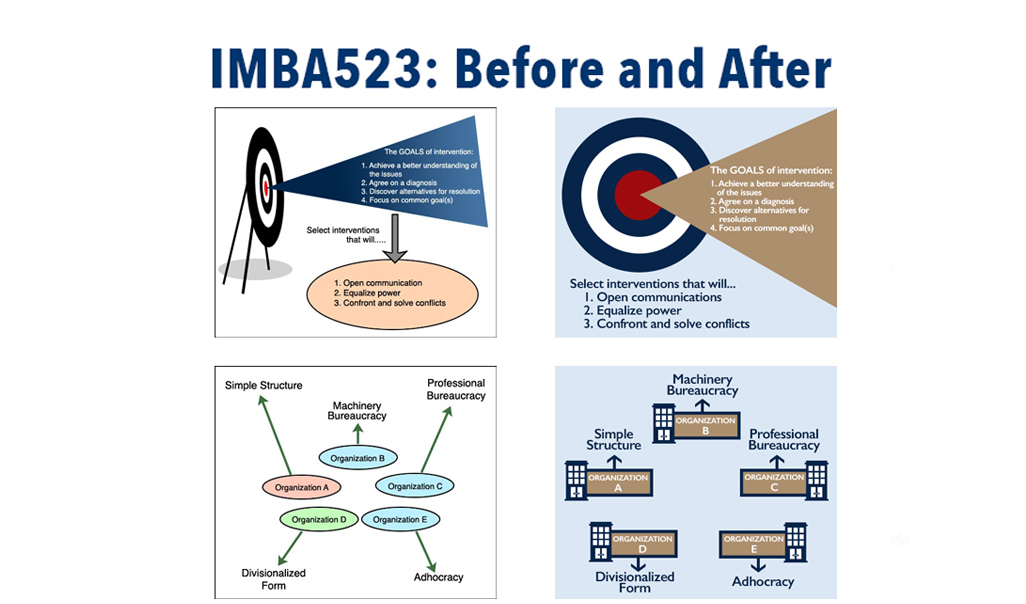 Before and after side-by-side comparisons of previously used and redesigned graphics for the course.