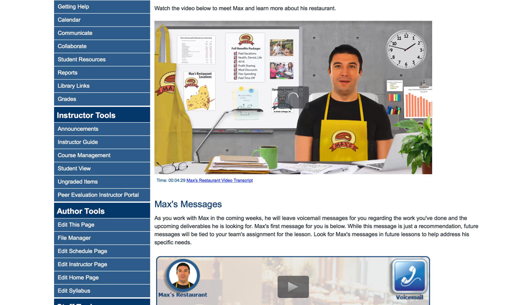 Screen shot of a lesson page showing images and text for a team activity related to working in a fictitious restaurant chain.
