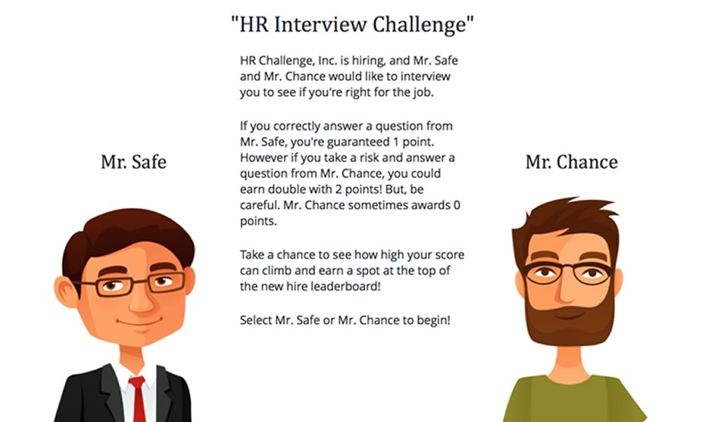 Screen shot of a lesson page showing images and text for the HR Challenge content.