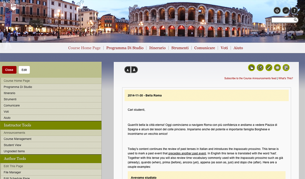 Screen shot of the home page for the Italian I course.