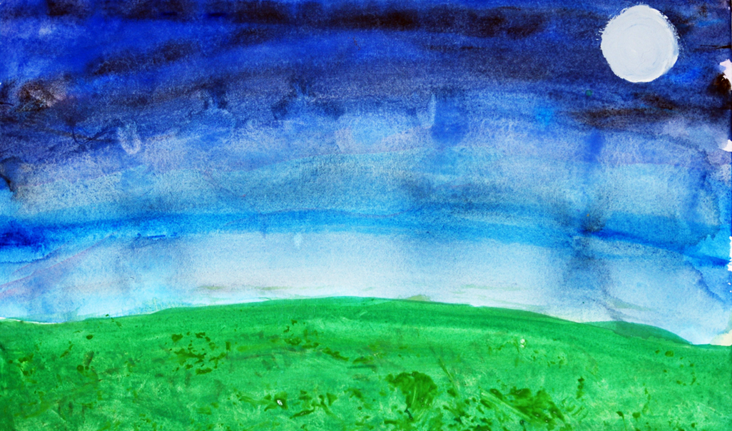 A child's painting of the moon in the sky above the grass.